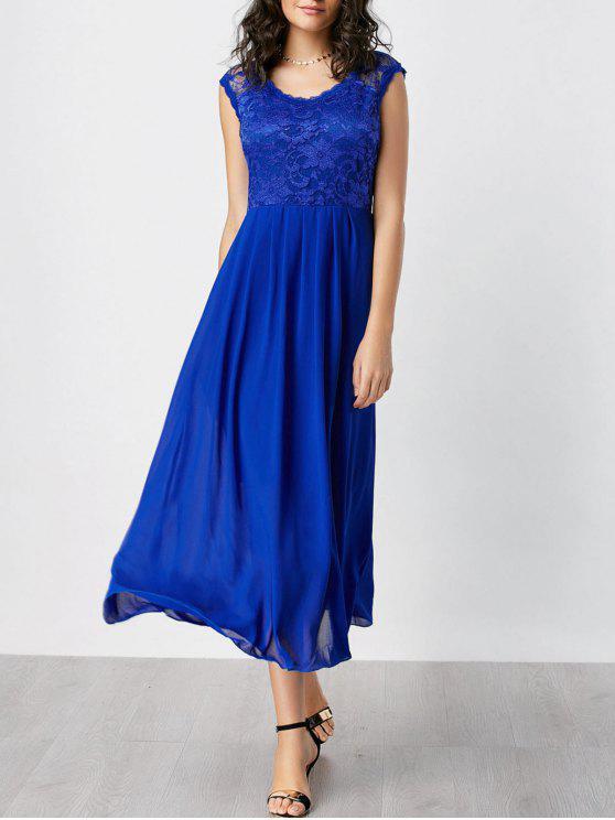 فستان طباعة الأزهار - أزرق 2XL