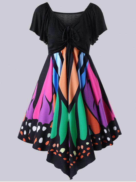 80b1581076b3 30% OFF] 2019 Plus Size Empire Waist Butterfly Print Dress In BLACK ...