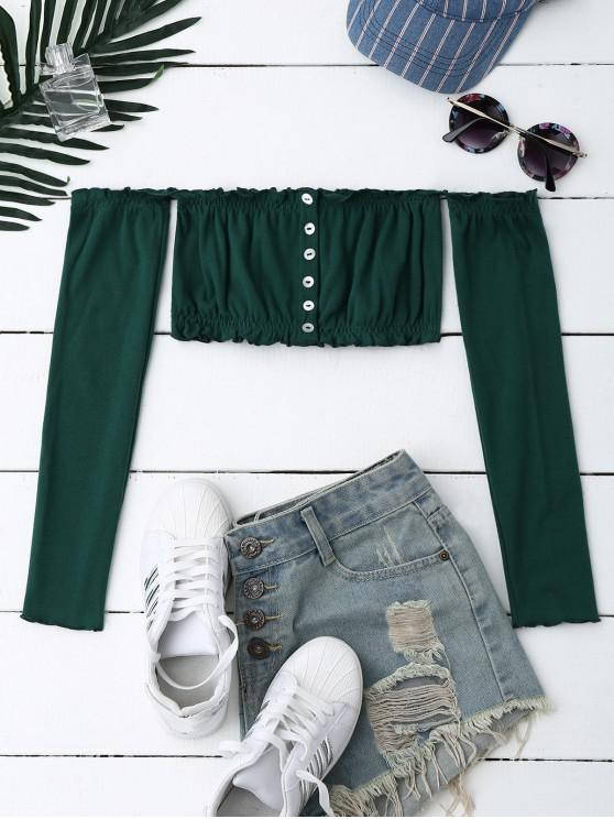 best Button Up Off Shoulder Cropped Top - BLACKISH GREEN ONE SIZE