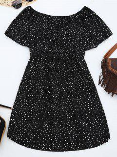 Off Shoulder Ruffle Polka Dot Dress - Black L