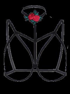 Bondage Cupless Floral Applique Bra Strap - Black S