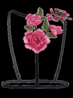 Cupless Floral Applique Bra Strap - Black Xl