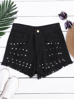 Ripped Cutoffs Rivet Denim Shorts - Black S