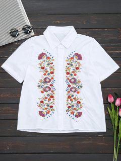 Camisa Bordada Floral De Manga Corta - Blanco M