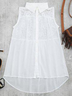 Lace Panel High Low Tank Top - White S