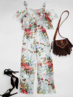 Ruffle Cold Shoulder Floral Palazzo Jumpsuit - White S