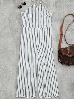 Striped Open Back Wide Leg Jumpsuit - White M
