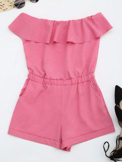 Strapless Ruffle Romper With Pockets - Sangria M