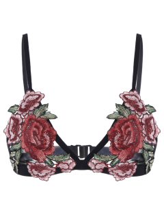 Back Closure Floral Applique Mesh Bra - Black S