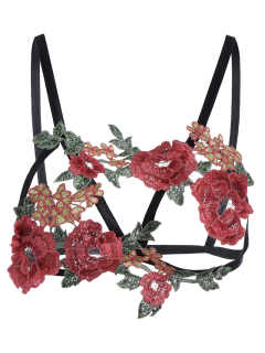 Caged Bralette Floral Applique Bra Straps - Black Xl