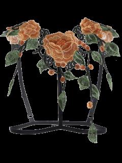 Caged Floral Applique Bra Correas - Negro Xl