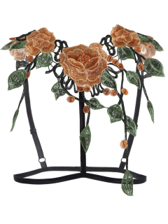 Caged Floral Applique Bra Straps - Black L