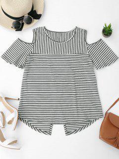 Cold Shoulder Striped Back Slit T-shirt - Deep Gray S