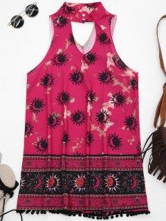 Robe Tunique Imprimée Graphique De Masque à Col Ras Du Cou Avec Boules Duveteuses  - Rose S