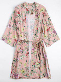Floral Belted Kimono Blouse - Floral S