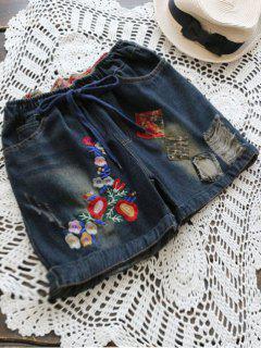 Pantalones Cortos Bordados Bordados Del Dril De Algodón Del Diseño Del Remiendo - Marina De Guerra Xl