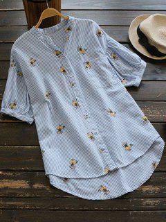 Dip Hem Shirt Embroidered Striped Shirt - Stripe L