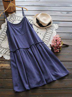 Creased Ruffles Smock Cami Dress - Blue