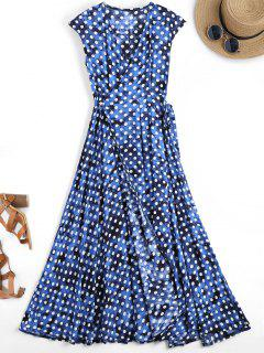 Wrap Polka Dot Maxi Cover Up Dress - Blue S