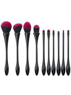 10Pcs Que Platea El Pelo De La Fibra Waisted El Cepillo Del Maquillaje Fija - Negro