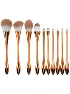 10Pcs Plated Waisted Water Drop Makeup Brushes Set - Rose Gold