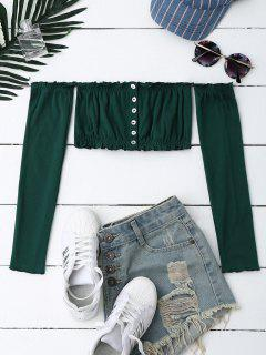 Button Up Off Shoulder Cropped Top - Blackish Green
