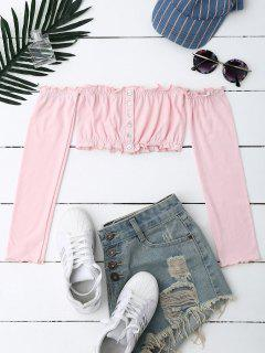 Button Up Off Shoulder Cropped Top - Light Apricot Pink
