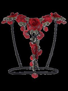 Strappy Floral Applique Bra Straps - Black L