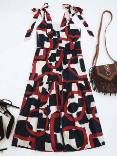 Tie Shoulder Printed Sleeveless Sundress - L