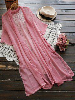 Langer Dünner Mantel Mit Seitlichem Schlitz Und Knöpfe Verschört - Pink
