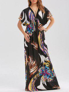 Maxi Vestido De Cintura Imperio Con Estampado De Mariposa - Negro 2xl