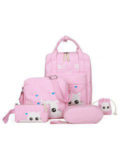 5 Stück Katze Druck Leinwand Rucksack Set - Pink