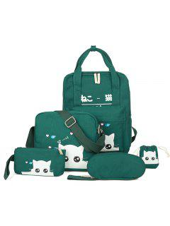 5 Pcs Cat Print Canvas Backpack Set - Blackish Green