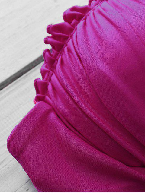 sale Tiny Floral Print Color Block Bikini Set - PURPLE RED M Mobile