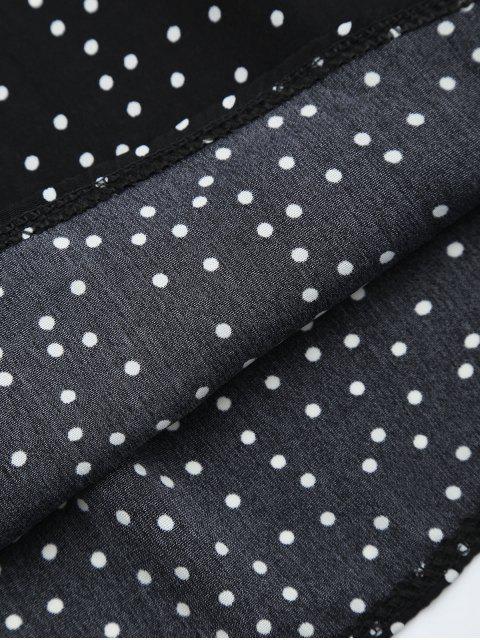 unique Off Shoulder Ruffle Polka Dot Dress - BLACK S Mobile