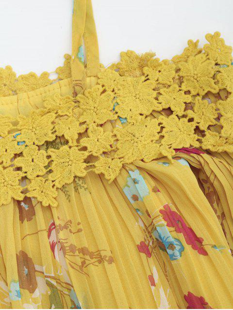 Robe Plissée Florale à Bretelles avec Dentelle - Jaune S Mobile