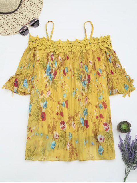 womens Floral Cami Pleated Dress With Crocheted Lace - YELLOW S Mobile