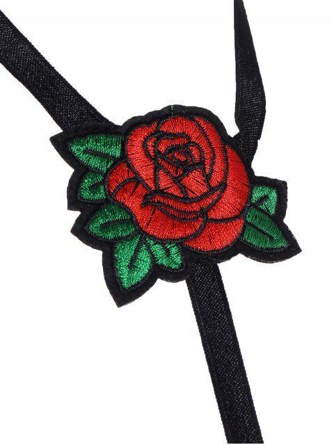 shop Cupless Bondage Floral Applique Bra Strap - BLACK S Mobile