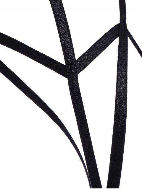 fancy Bondage Cupless Floral Applique Bra Strap - BLACK L Mobile