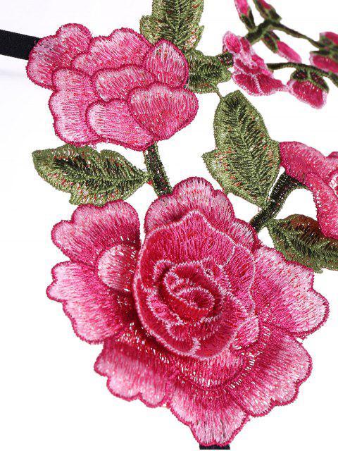 women Cupless Floral Applique Bra Strap - BLACK S Mobile