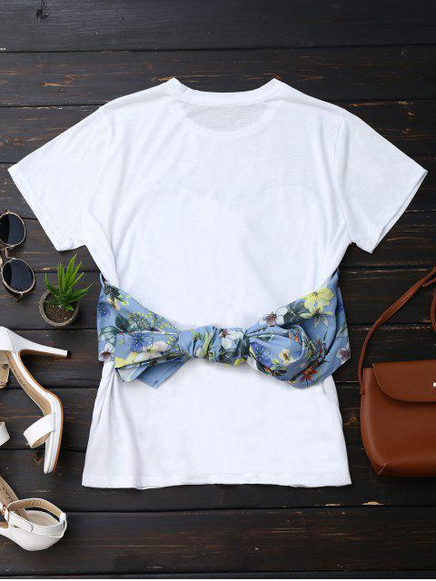 fashion Back Bowknot Floral T-Shirt - WHITE M Mobile