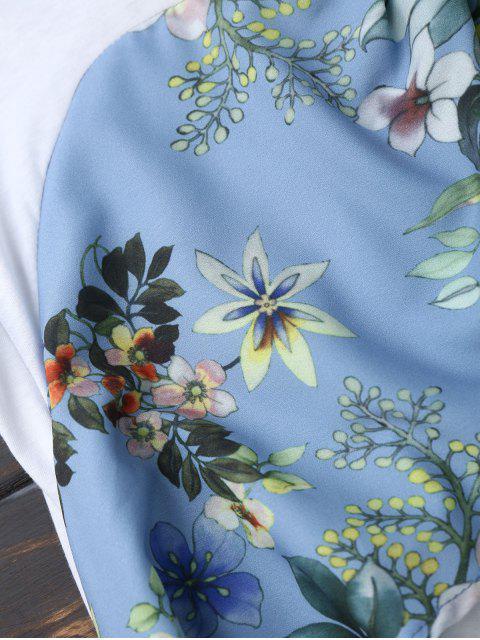 T-shirt floral arrière Bowknot - Blanc S Mobile