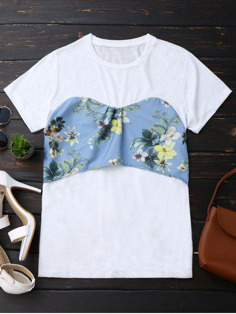 chic Back Bowknot Floral T-Shirt - WHITE S Mobile