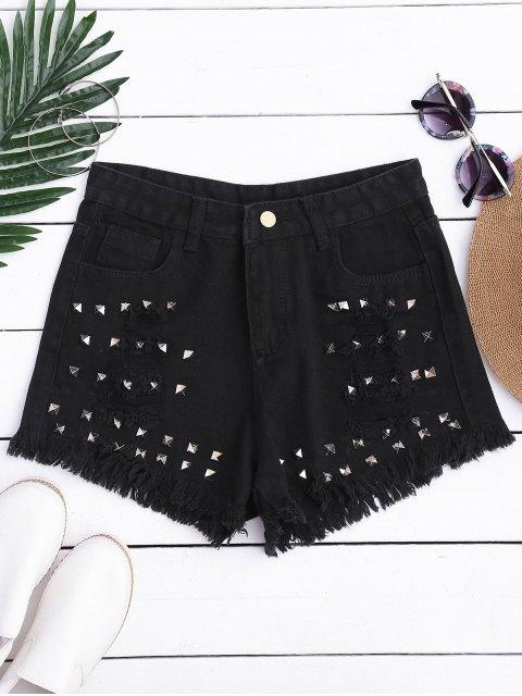 Ripped Cutoffs Rivet Denim Shorts - Noir S Mobile