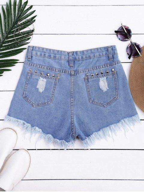 Ripped Cutoffs Rivet Denim Shorts - Denim Bleu L Mobile