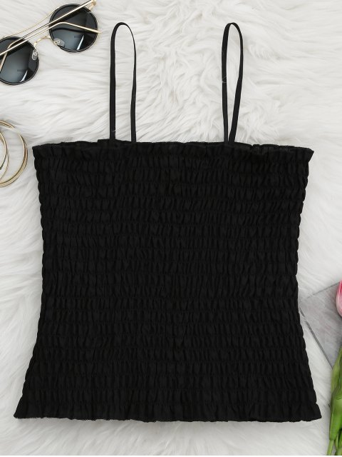 unique Cami Ruffled Smocked Tank Top - BLACK ONE SIZE Mobile