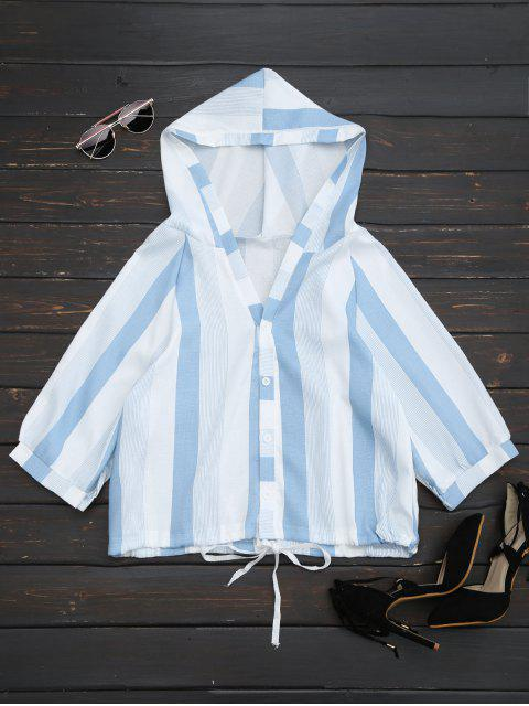 ladies Hooded Stripes Drawstring Hem Top - STRIPE ONE SIZE Mobile