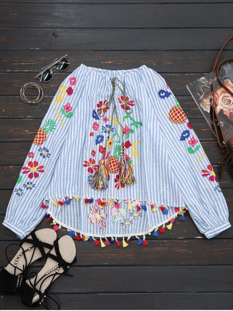 online Tassels High Low Embroidered Blouse - STRIPE L Mobile