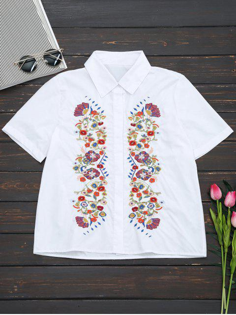 outfits Short Sleeve Floral Embroidered Shirt - WHITE M Mobile