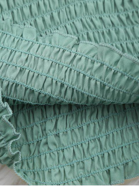 latest Cami Ruffled Smocked Tank Top - LIGHT GREEN ONE SIZE Mobile